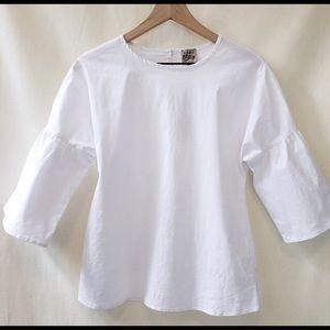 🎈Como Vintage White Bell Sleeve Blouse